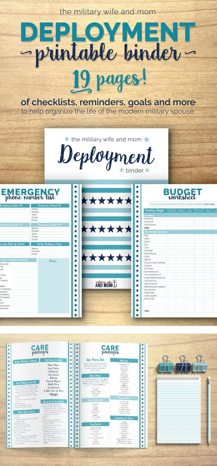 FREE printable! Beautiful 19-page deployment binder for military spouses! Keep all things deployment organized neatly in one convenient place.